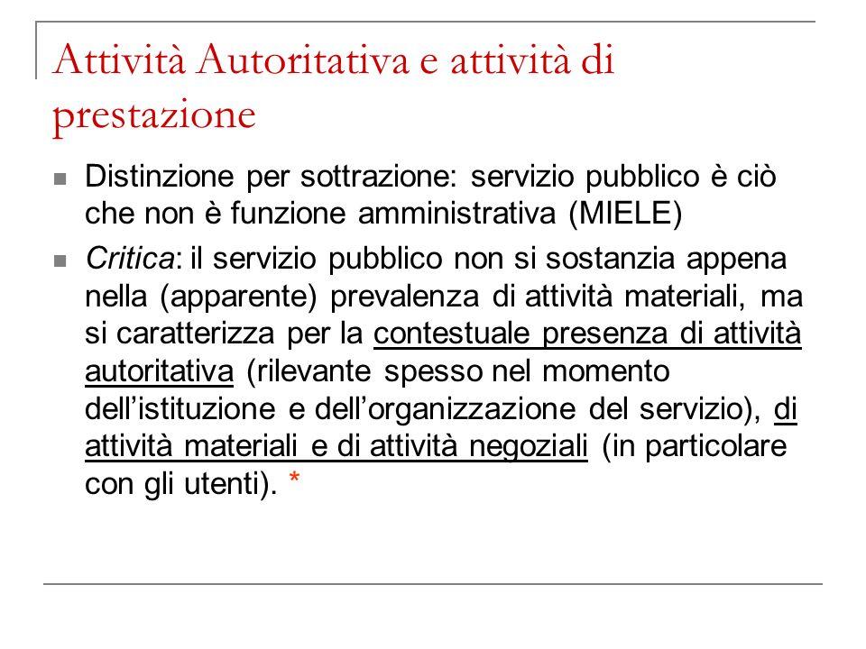 Attività Autoritativa e attività di prestazione Distinzione per sottrazione: servizio pubblico è ciò che non è funzione amministrativa (MIELE) Critica