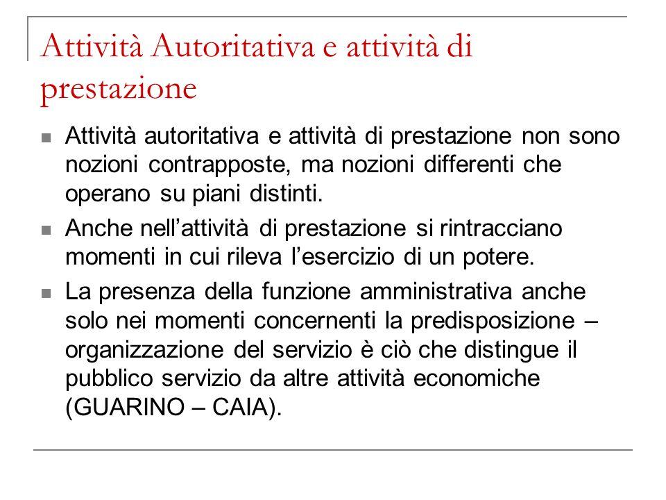 Attività Autoritativa e attività di prestazione Il servizio pubblico non comprende necessariamente lespressione di poteri amministrativi nella fase di prestazione.