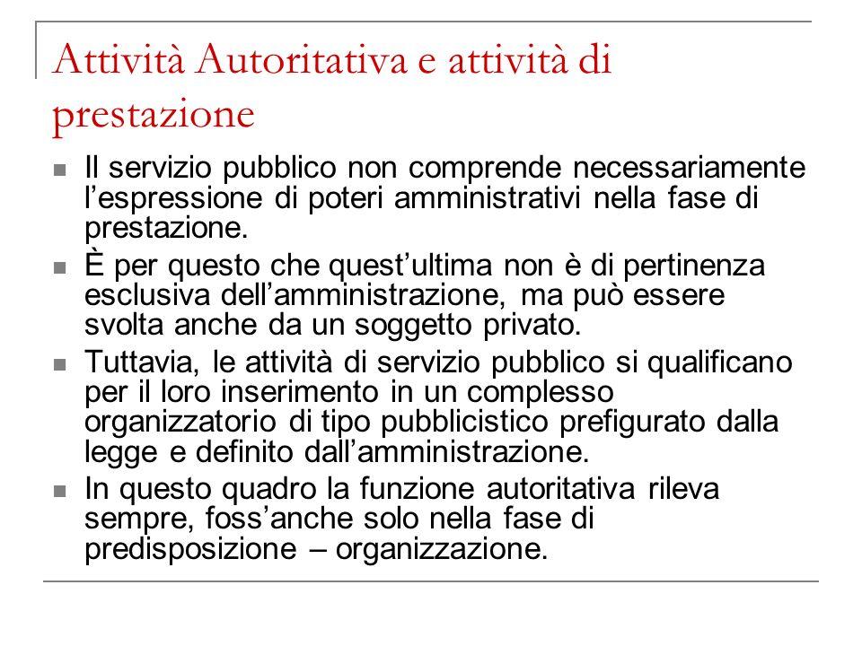 Attività Autoritativa e attività di prestazione Il servizio pubblico non comprende necessariamente lespressione di poteri amministrativi nella fase di