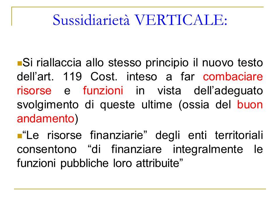 Sussidiarietà VERTICALE: Si riallaccia allo stesso principio il nuovo testo dellart. 119 Cost. inteso a far combaciare risorse e funzioni in vista del