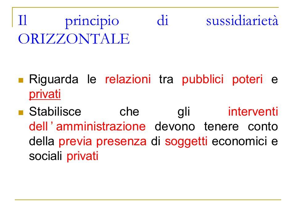 Il principio di sussidiarietà ORIZZONTALE Riguarda le relazioni tra pubblici poteri e privati Stabilisce che gli interventi dellamministrazione devono