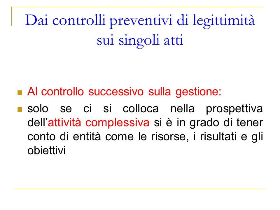 Dai controlli preventivi di legittimità sui singoli atti Al controllo successivo sulla gestione: solo se ci si colloca nella prospettiva dellattività