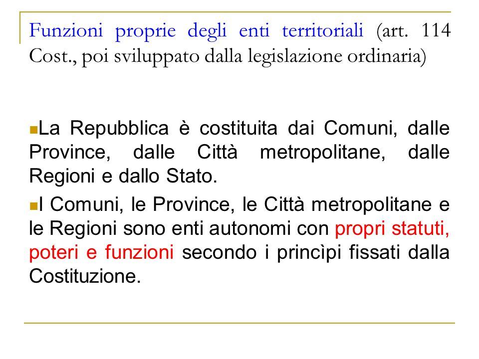 Funzioni proprie degli enti territoriali (art. 114 Cost., poi sviluppato dalla legislazione ordinaria) La Repubblica è costituita dai Comuni, dalle Pr