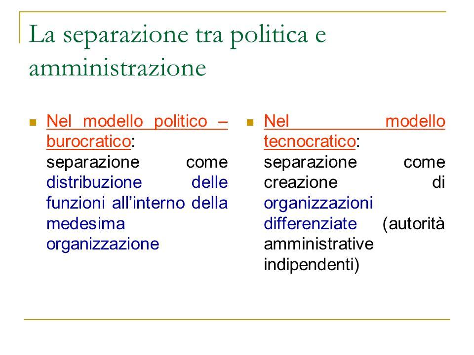 La separazione tra politica e amministrazione Nel modello politico – burocratico: separazione come distribuzione delle funzioni allinterno della medes
