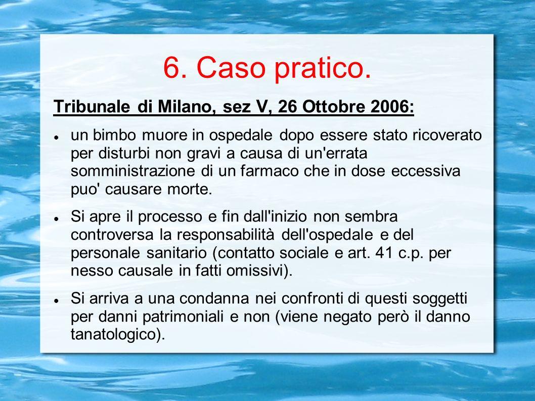 6. Caso pratico. Tribunale di Milano, sez V, 26 Ottobre 2006: un bimbo muore in ospedale dopo essere stato ricoverato per disturbi non gravi a causa d