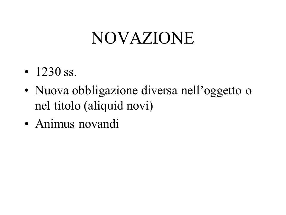 NOVAZIONE 1230 ss. Nuova obbligazione diversa nelloggetto o nel titolo (aliquid novi) Animus novandi