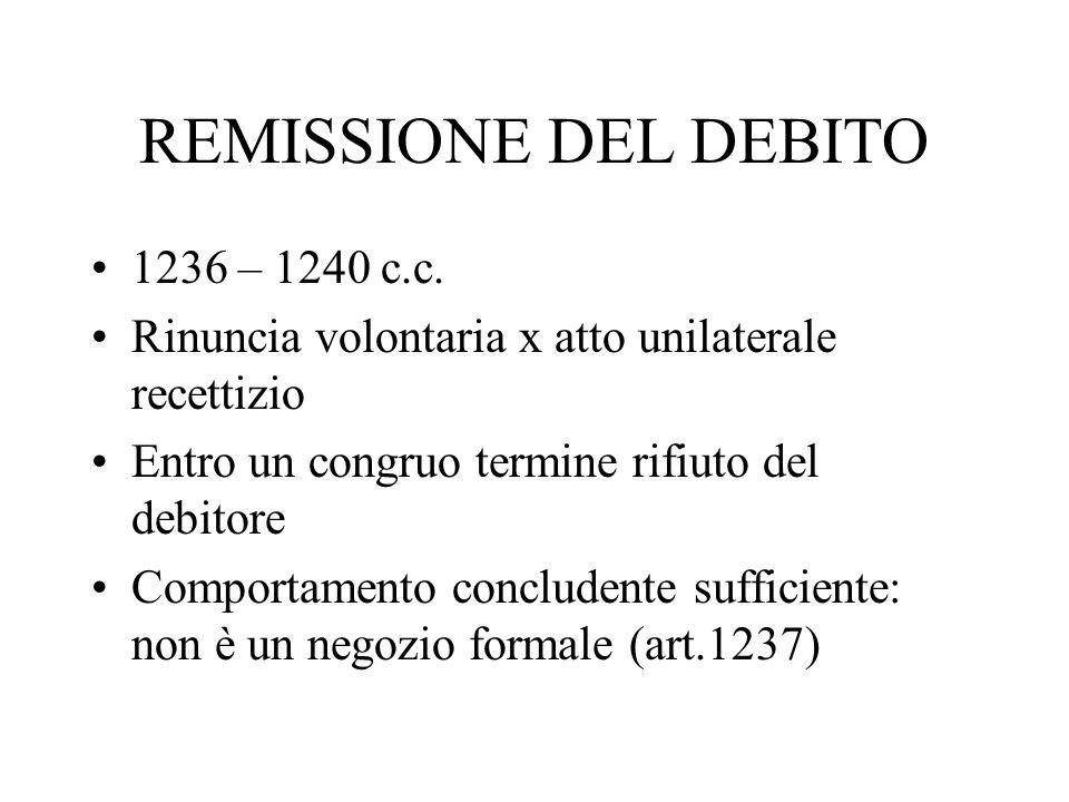 REMISSIONE DEL DEBITO 1236 – 1240 c.c. Rinuncia volontaria x atto unilaterale recettizio Entro un congruo termine rifiuto del debitore Comportamento c