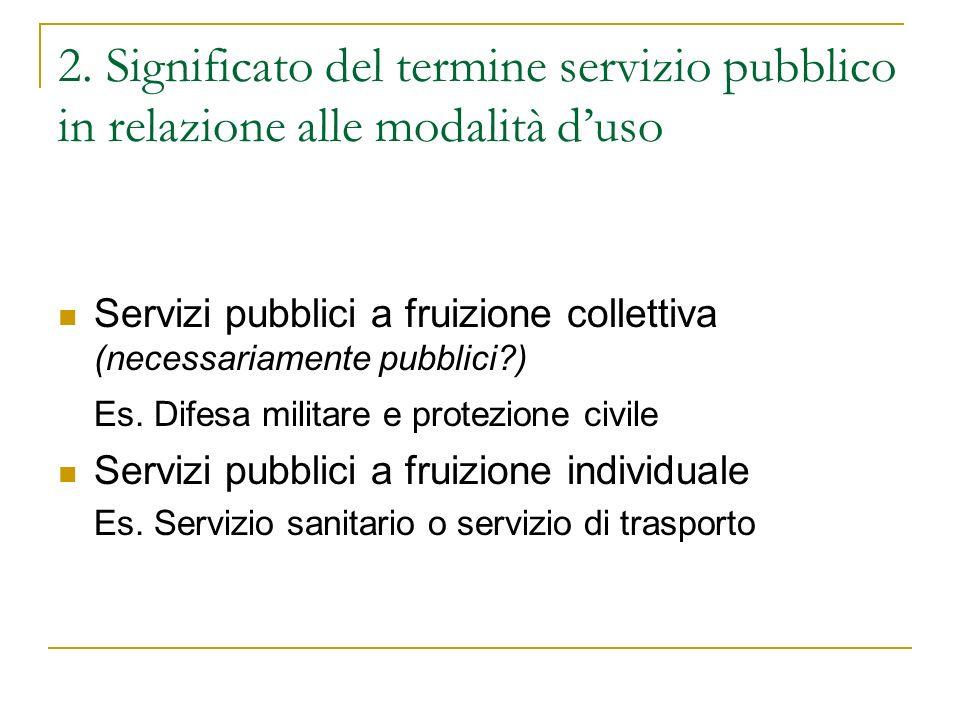 2. Significato del termine servizio pubblico in relazione alle modalità duso Servizi pubblici a fruizione collettiva (necessariamente pubblici?) Es. D
