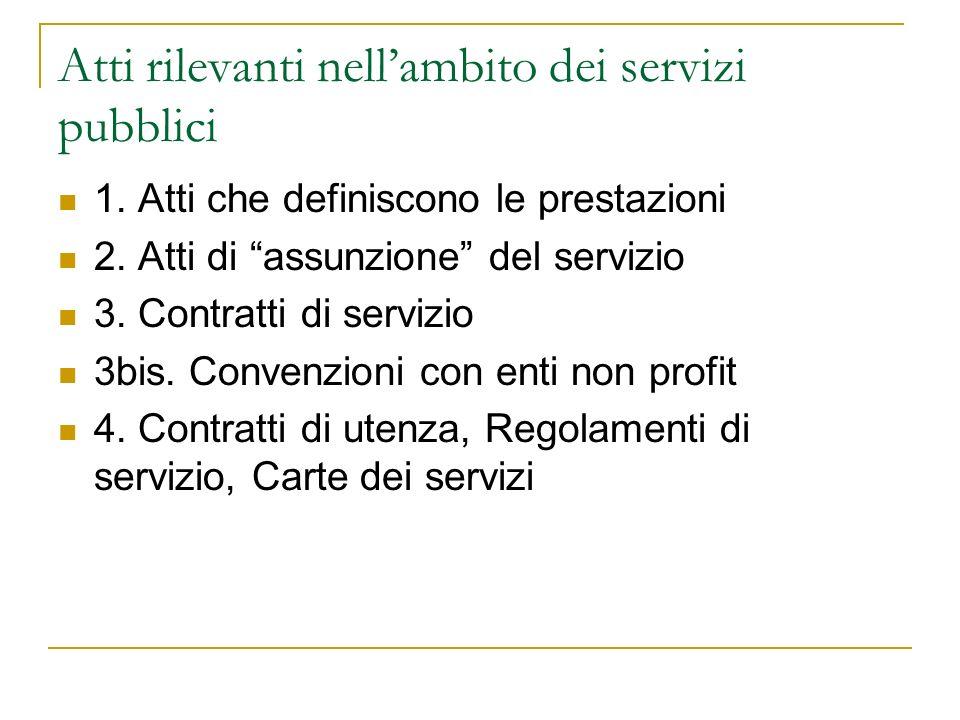 Atti rilevanti nellambito dei servizi pubblici 1. Atti che definiscono le prestazioni 2.