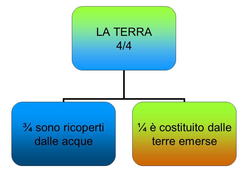 LA TERRA 4/4 ¾ sono ricoperti dalle acque ¼ è costituito dalle terre emerse