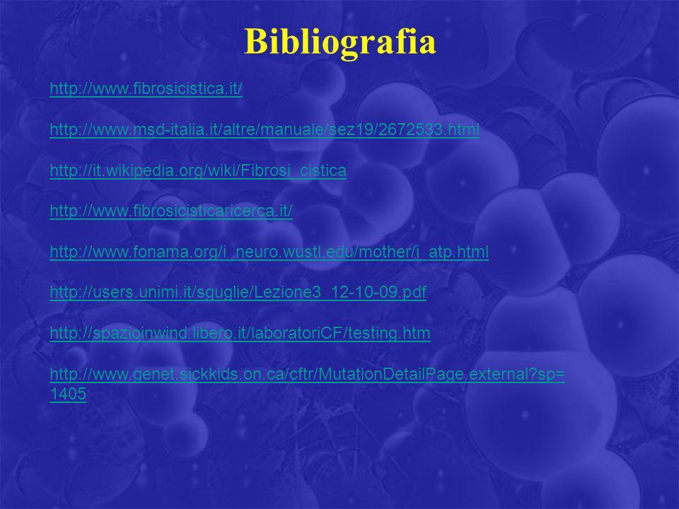 Bibliografia http://www.fibrosicistica.it/ http://www.msd-italia.it/altre/manuale/sez19/2672533.html http://it.wikipedia.org/wiki/Fibrosi_cistica http