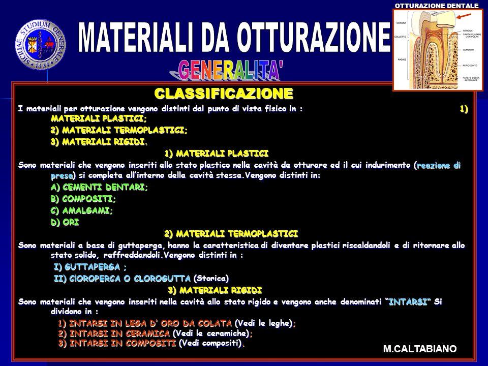 CLASSIFICAZIONE CLASSIFICAZIONE I materiali per otturazione vengono distinti dal punto di vista fisico in : 1) MATERIALI PLASTICI; 2) MATERIALI TERMOP
