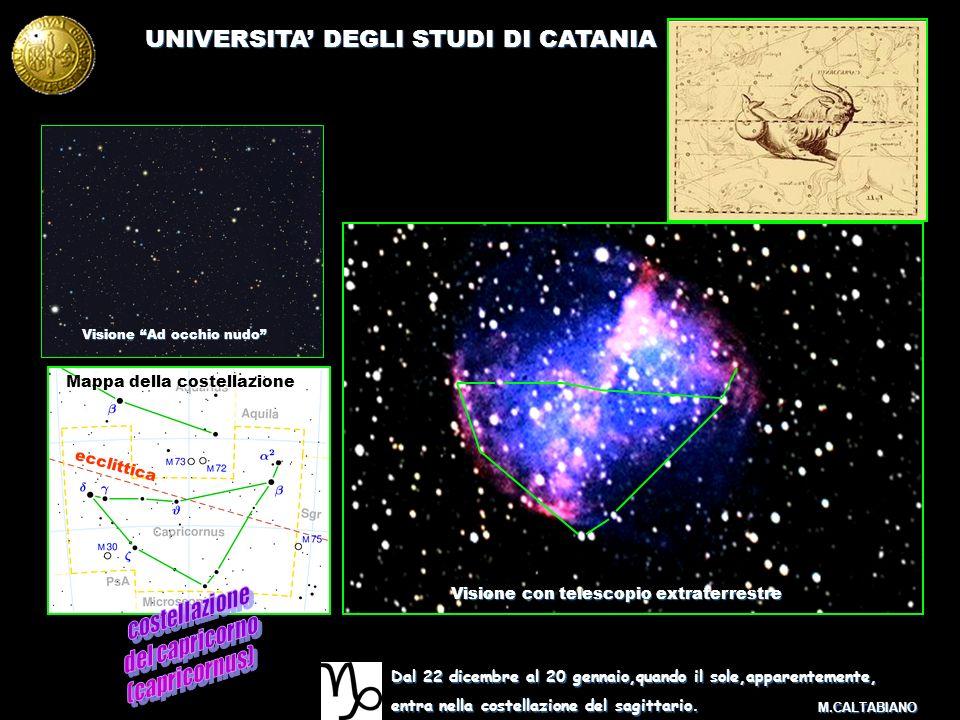 UNIVERSITA DEGLI STUDI DI CATANIA M.CALTABIANO Dal 22 dicembre al 20 gennaio,quando il sole,apparentemente, entra nella costellazione del sagittario.