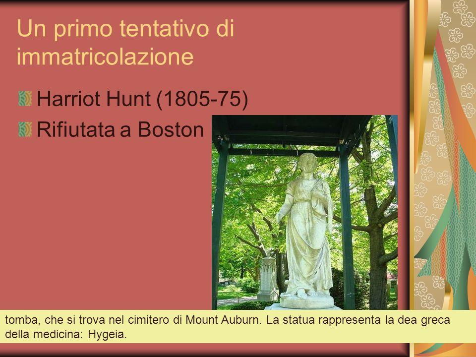 Un primo tentativo di immatricolazione Harriot Hunt (1805-75) Rifiutata a Boston tomba, che si trova nel cimitero di Mount Auburn. La statua rappresen