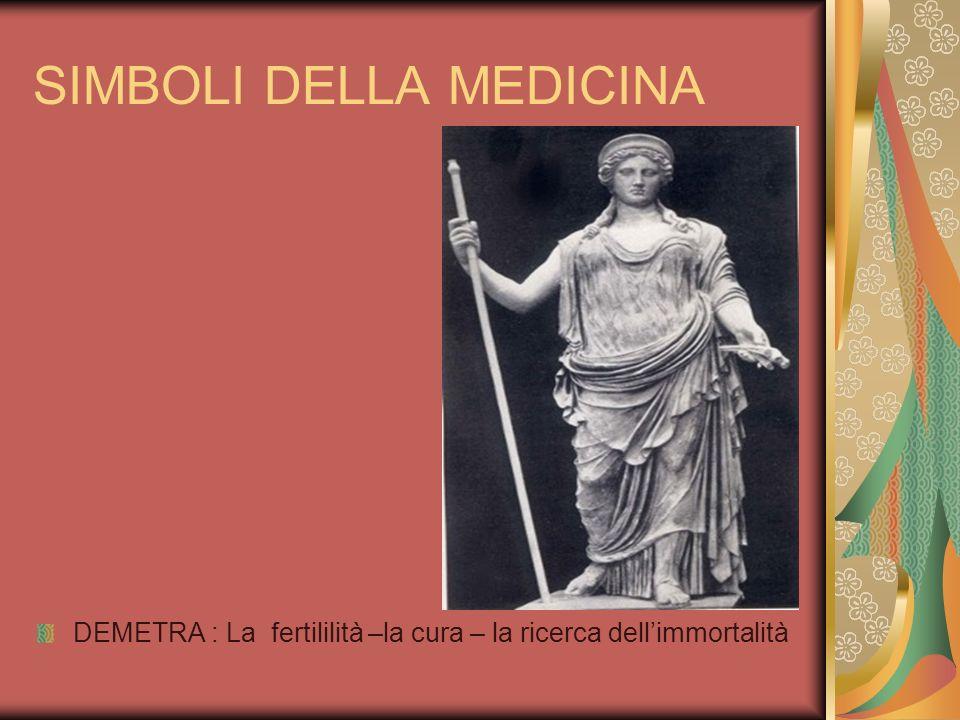 SIMBOLI DELLA MEDICINA DEMETRA : La fertililità –la cura – la ricerca dellimmortalità