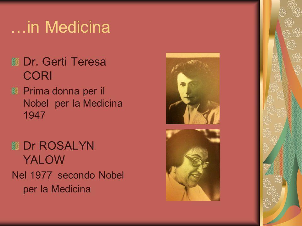 …in Medicina Dr. Gerti Teresa CORI Prima donna per il Nobel per la Medicina 1947 Dr ROSALYN YALOW Nel 1977 secondo Nobel per la Medicina