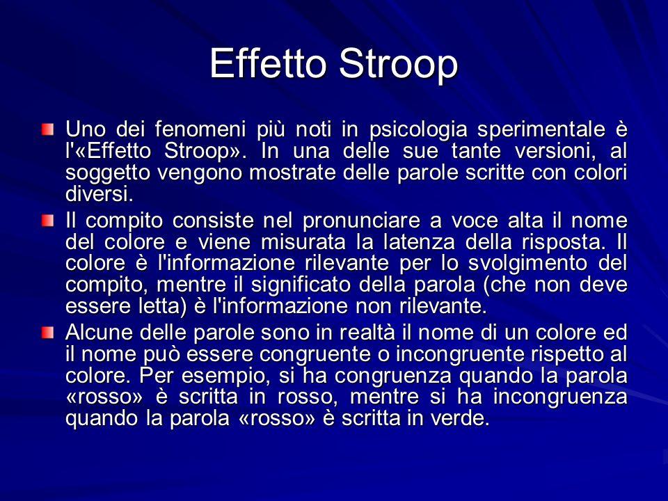 Effetto Stroop Uno dei fenomeni più noti in psicologia sperimentale è l'«Effetto Stroop». In una delle sue tante versioni, al soggetto vengono mostrat
