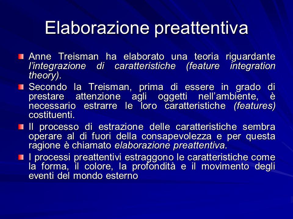 Elaborazione preattentiva Anne Treisman ha elaborato una teoria riguardante lintegrazione di caratteristiche (feature integration theory). Secondo la