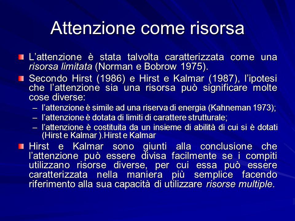 Attenzione come risorsa Lattenzione è stata talvolta caratterizzata come una risorsa limitata (Norman e Bobrow 1975). Secondo Hirst (1986) e Hirst e K