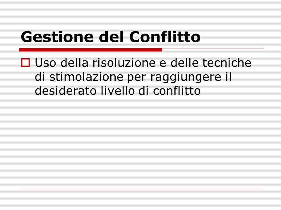 Gestione del Conflitto Uso della risoluzione e delle tecniche di stimolazione per raggiungere il desiderato livello di conflitto