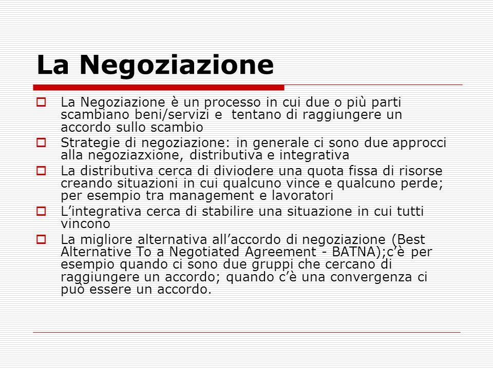 La Negoziazione La Negoziazione è un processo in cui due o più parti scambiano beni/servizi e tentano di raggiungere un accordo sullo scambio Strategi