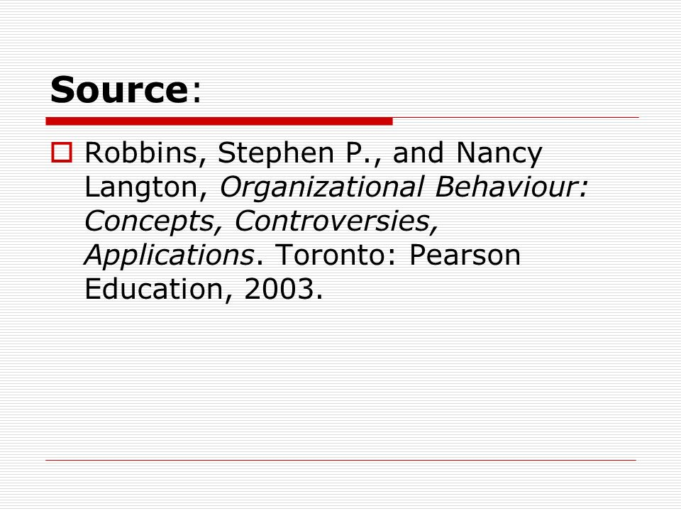 Source: Robbins, Stephen P., and Nancy Langton, Organizational Behaviour: Concepts, Controversies, Applications. Toronto: Pearson Education, 2003.