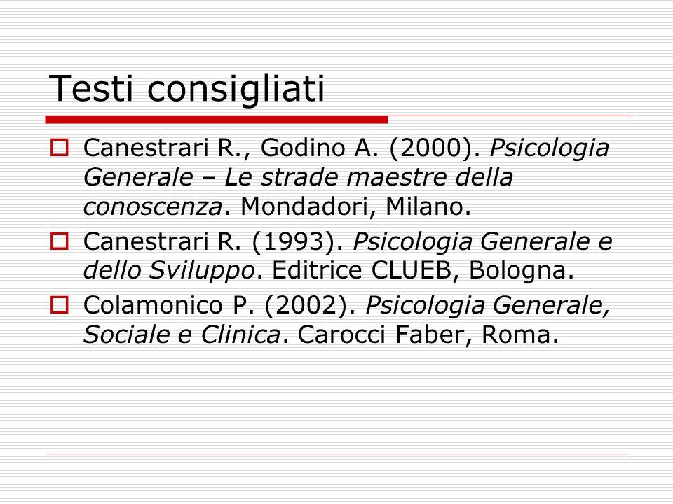 Testi consigliati Canestrari R., Godino A. (2000). Psicologia Generale – Le strade maestre della conoscenza. Mondadori, Milano. Canestrari R. (1993).