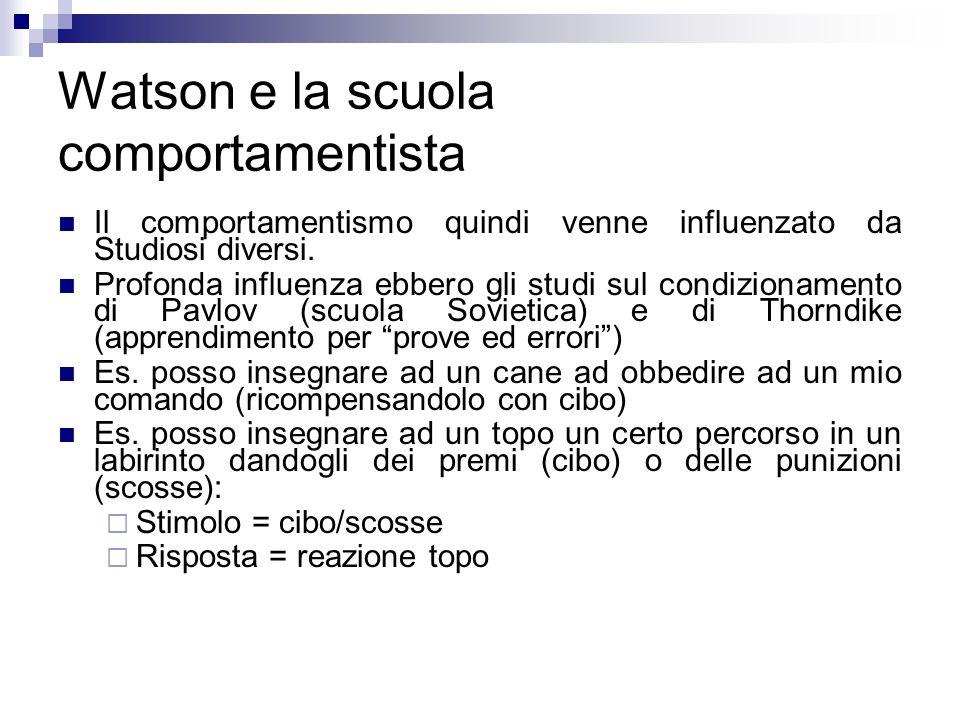 Watson e la scuola comportamentista Il comportamentismo quindi venne influenzato da Studiosi diversi. Profonda influenza ebbero gli studi sul condizio