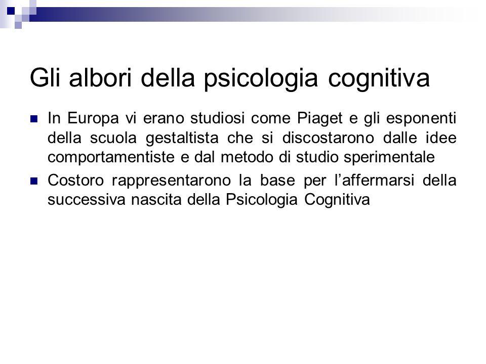 Gli albori della psicologia cognitiva In Europa vi erano studiosi come Piaget e gli esponenti della scuola gestaltista che si discostarono dalle idee
