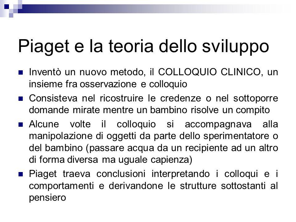 Piaget e la teoria dello sviluppo Inventò un nuovo metodo, il COLLOQUIO CLINICO, un insieme fra osservazione e colloquio Consisteva nel ricostruire le