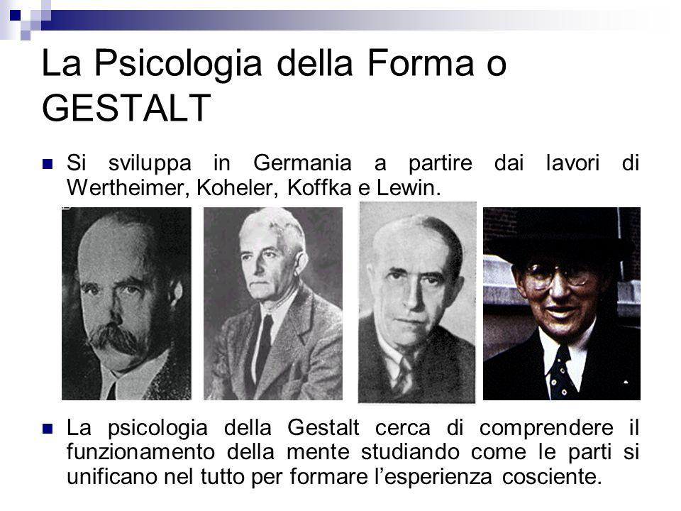 La Psicologia della Forma o GESTALT Si sviluppa in Germania a partire dai lavori di Wertheimer, Koheler, Koffka e Lewin. La psicologia della Gestalt c