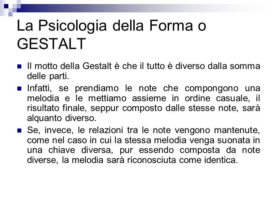 La Psicologia della Forma o GESTALT Il motto della Gestalt è che il tutto è diverso dalla somma delle parti. Infatti, se prendiamo le note che compong
