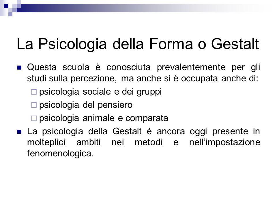 La Psicologia della Forma o Gestalt Questa scuola è conosciuta prevalentemente per gli studi sulla percezione, ma anche si è occupata anche di: psicol