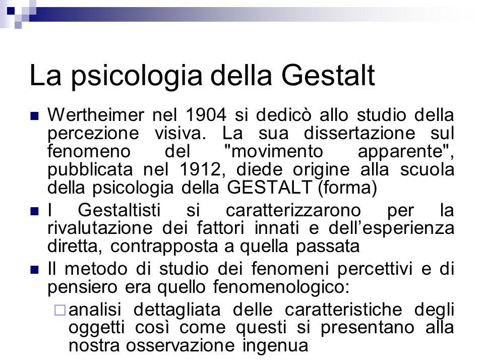 La psicologia della Gestalt Wertheimer nel 1904 si dedicò allo studio della percezione visiva. La sua dissertazione sul fenomeno del