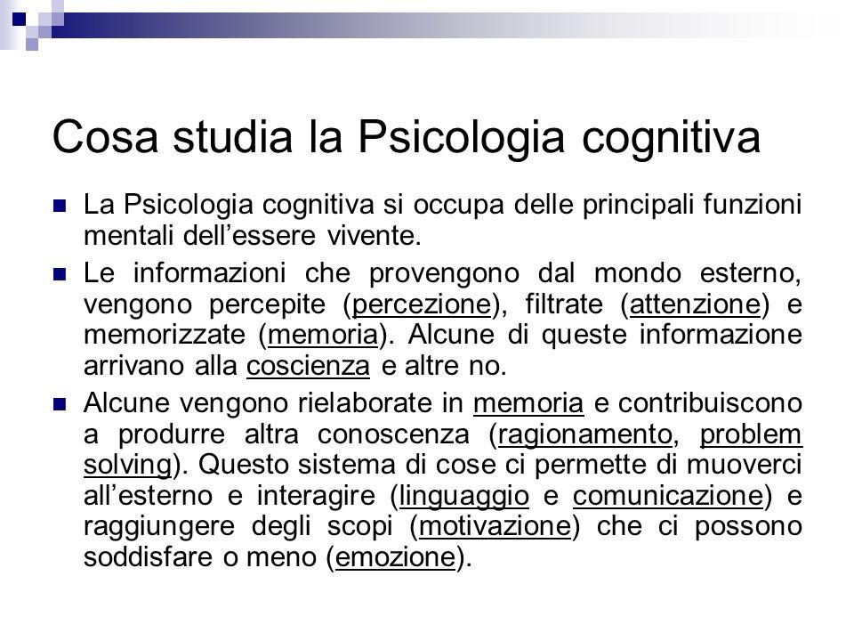 Cosa studia la Psicologia cognitiva La Psicologia cognitiva si occupa delle principali funzioni mentali dellessere vivente. Le informazioni che proven