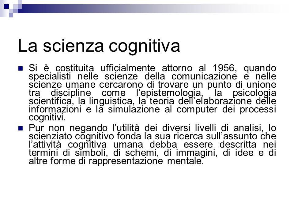 La scienza cognitiva Si è costituita ufficialmente attorno al 1956, quando specialisti nelle scienze della comunicazione e nelle scienze umane cercaro