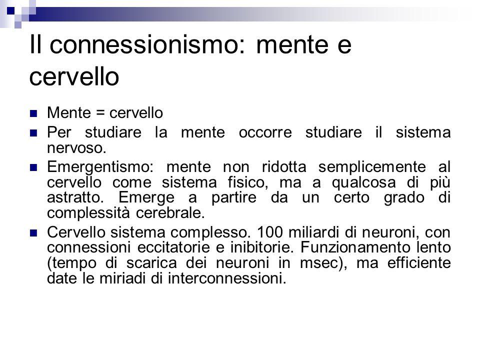 Il connessionismo: mente e cervello Mente = cervello Per studiare la mente occorre studiare il sistema nervoso. Emergentismo: mente non ridotta sempli