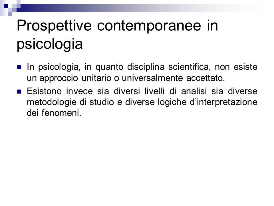 Prospettive contemporanee in psicologia In psicologia, in quanto disciplina scientifica, non esiste un approccio unitario o universalmente accettato.