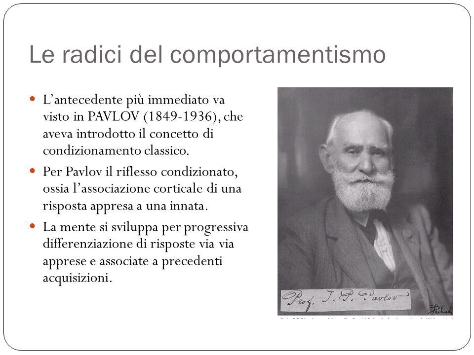 Le radici del comportamentismo Lantecedente più immediato va visto in PAVLOV (1849-1936), che aveva introdotto il concetto di condizionamento classico