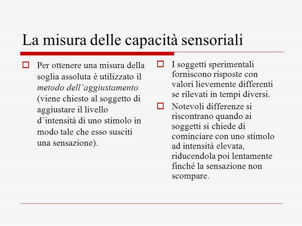 La misura delle capacità sensoriali Per ottenere una misura della soglia assoluta è utilizzato il metodo dellaggiustamento (viene chiesto al soggetto