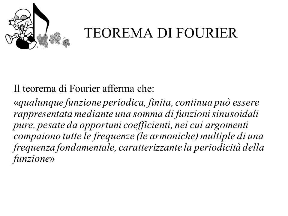 TEOREMA DI FOURIER Il teorema di Fourier afferma che: «qualunque funzione periodica, finita, continua può essere rappresentata mediante una somma di funzioni sinusoidali pure, pesate da opportuni coefficienti, nei cui argomenti compaiono tutte le frequenze (le armoniche) multiple di una frequenza fondamentale, caratterizzante la periodicità della funzione»