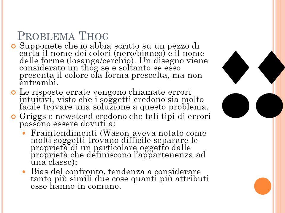 P ROBLEMA T HOG Supponete che io abbia scritto su un pezzo di carta il nome dei colori (nero/bianco) e il nome delle forme (losanga/cerchio). Un diseg