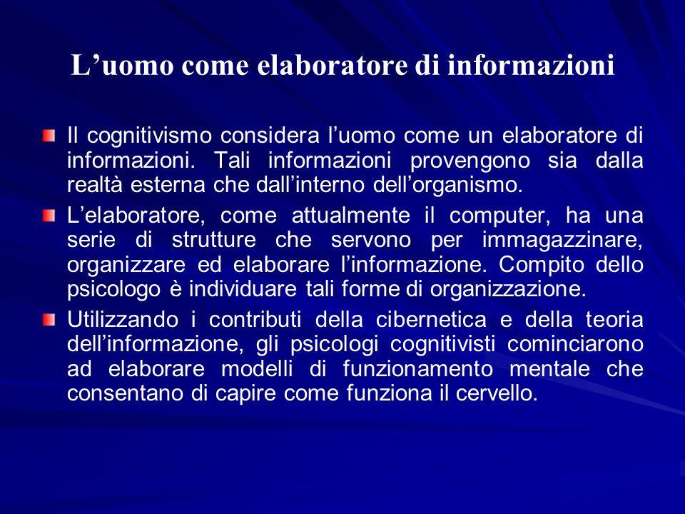 Luomo come elaboratore di informazioni Il cognitivismo considera luomo come un elaboratore di informazioni. Tali informazioni provengono sia dalla rea