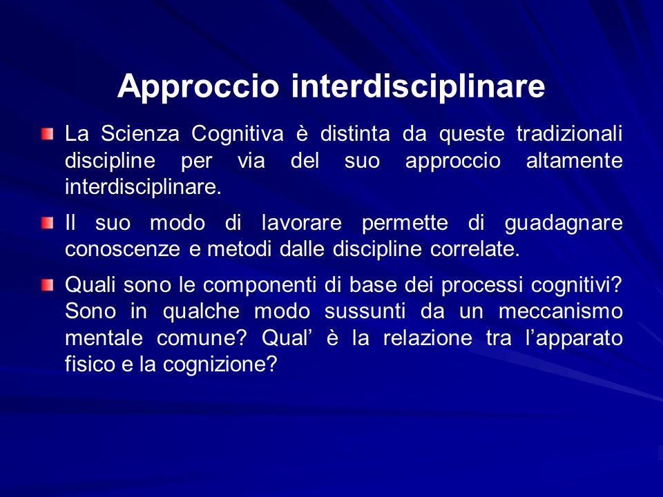 Approccio interdisciplinare La Scienza Cognitiva è distinta da queste tradizionali discipline per via del suo approccio altamente interdisciplinare. I