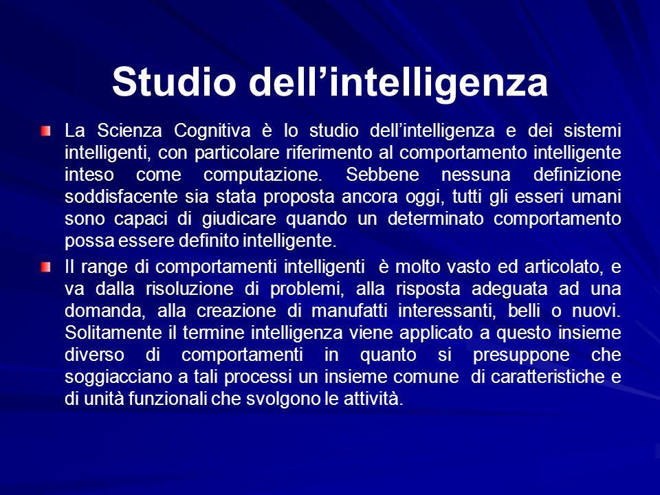 Studio dellintelligenza La Scienza Cognitiva è lo studio dellintelligenza e dei sistemi intelligenti, con particolare riferimento al comportamento int