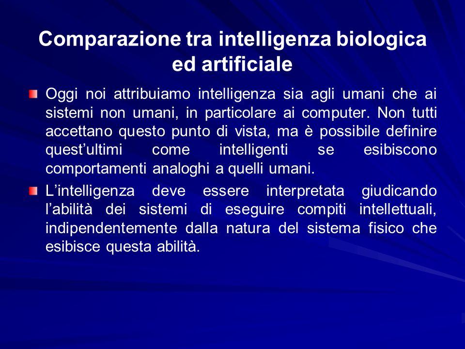 Comparazione tra intelligenza biologica ed artificiale Oggi noi attribuiamo intelligenza sia agli umani che ai sistemi non umani, in particolare ai co