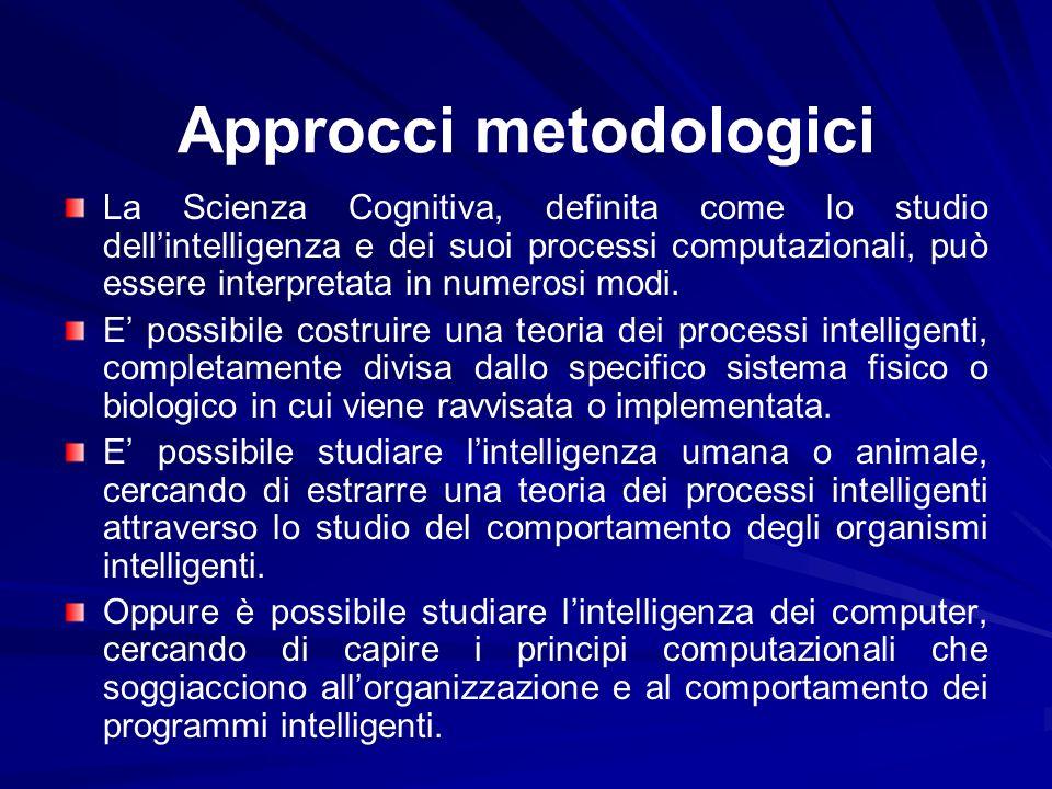 Approcci metodologici La Scienza Cognitiva, definita come lo studio dellintelligenza e dei suoi processi computazionali, può essere interpretata in nu