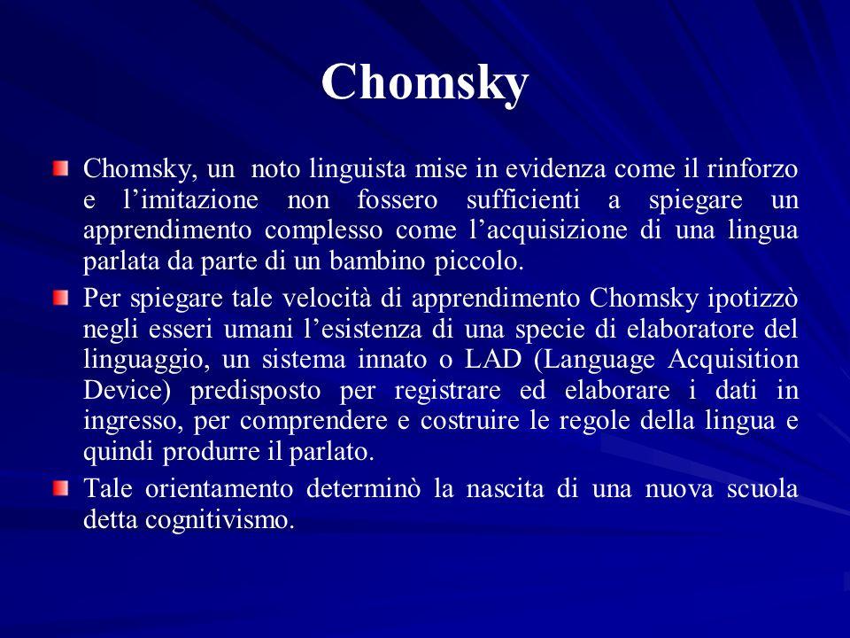 Chomsky Chomsky, un noto linguista mise in evidenza come il rinforzo e limitazione non fossero sufficienti a spiegare un apprendimento complesso come