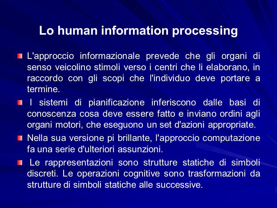 Lo human information processing L'approccio informazionale prevede che gli organi di senso veicolino stimoli verso i centri che li elaborano, in racco