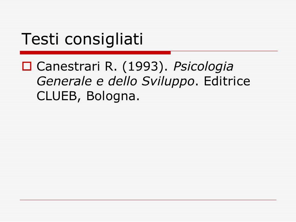 Testi consigliati Canestrari R. (1993). Psicologia Generale e dello Sviluppo. Editrice CLUEB, Bologna.